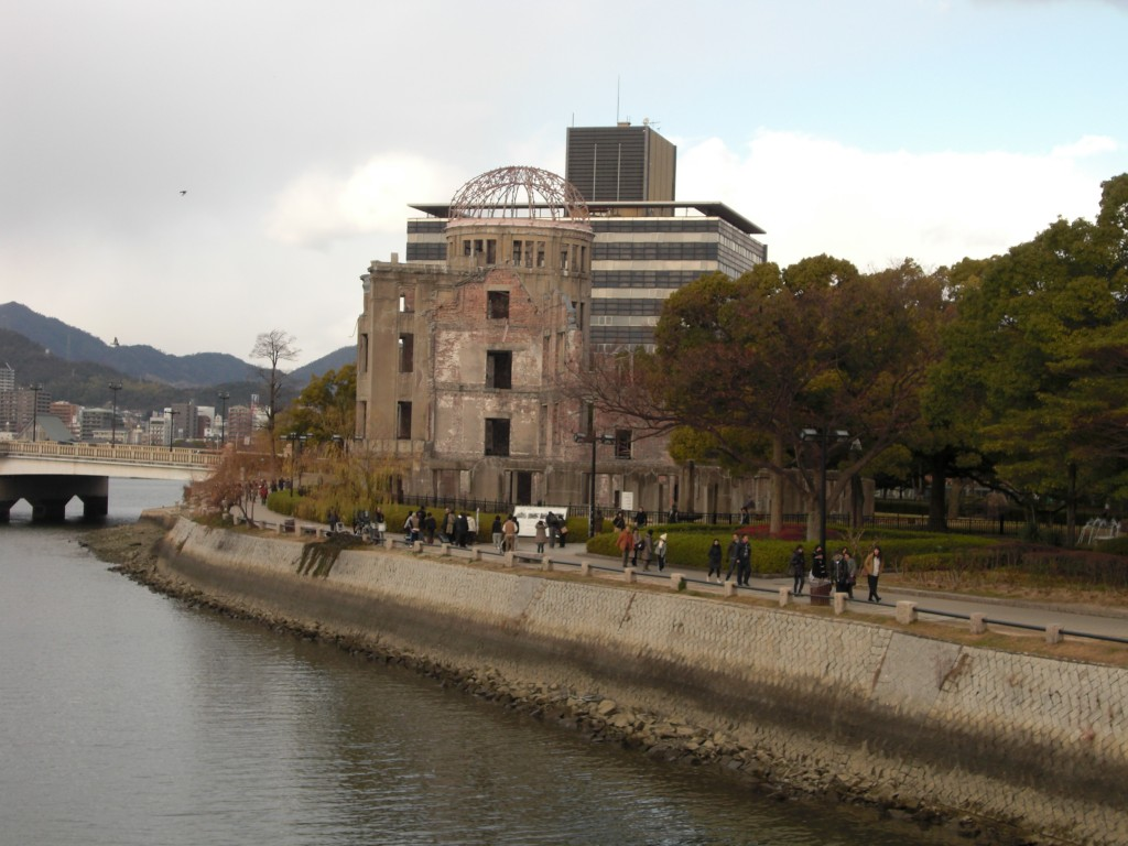 The A-bomb dome at Hiroshima's Peace Memorial Park.