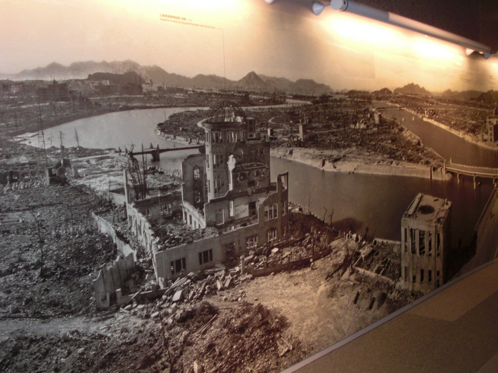 A photo of the epicenter of destruction with the A-bomb dome.