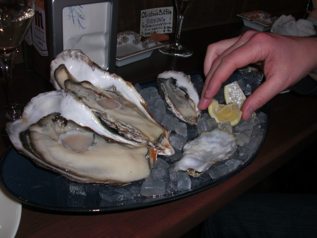The huge Hiroshima oysters on the left.