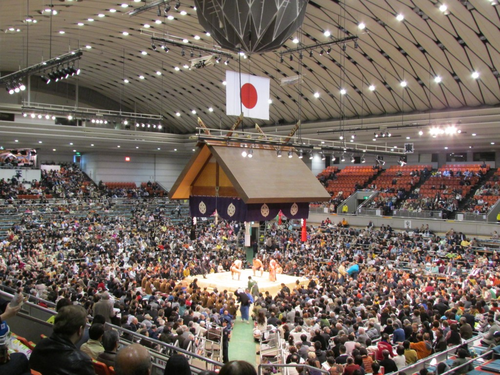 The sumo ring at the Osaka Grand Sumo Tournament.