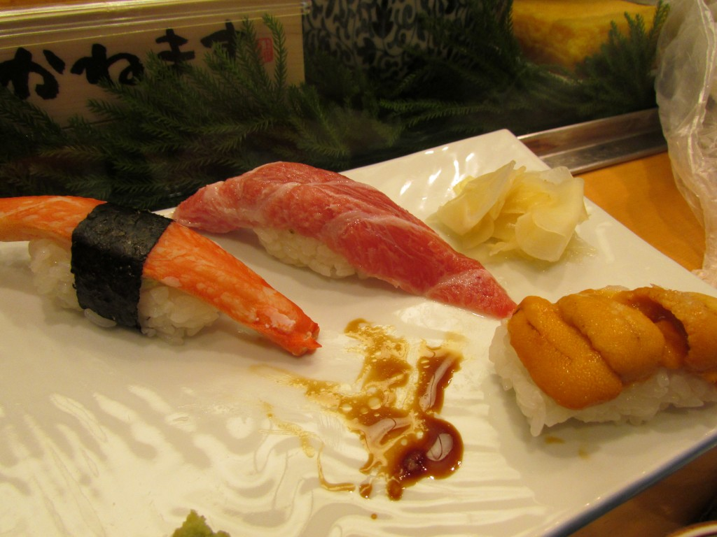 Crab, fatty tuna and sea urchin sushi.