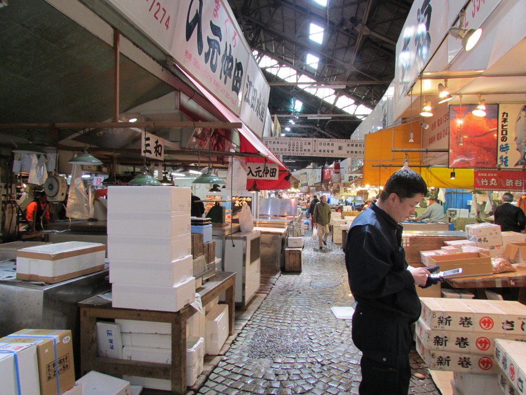 Tsukiji Market winding down for the day.