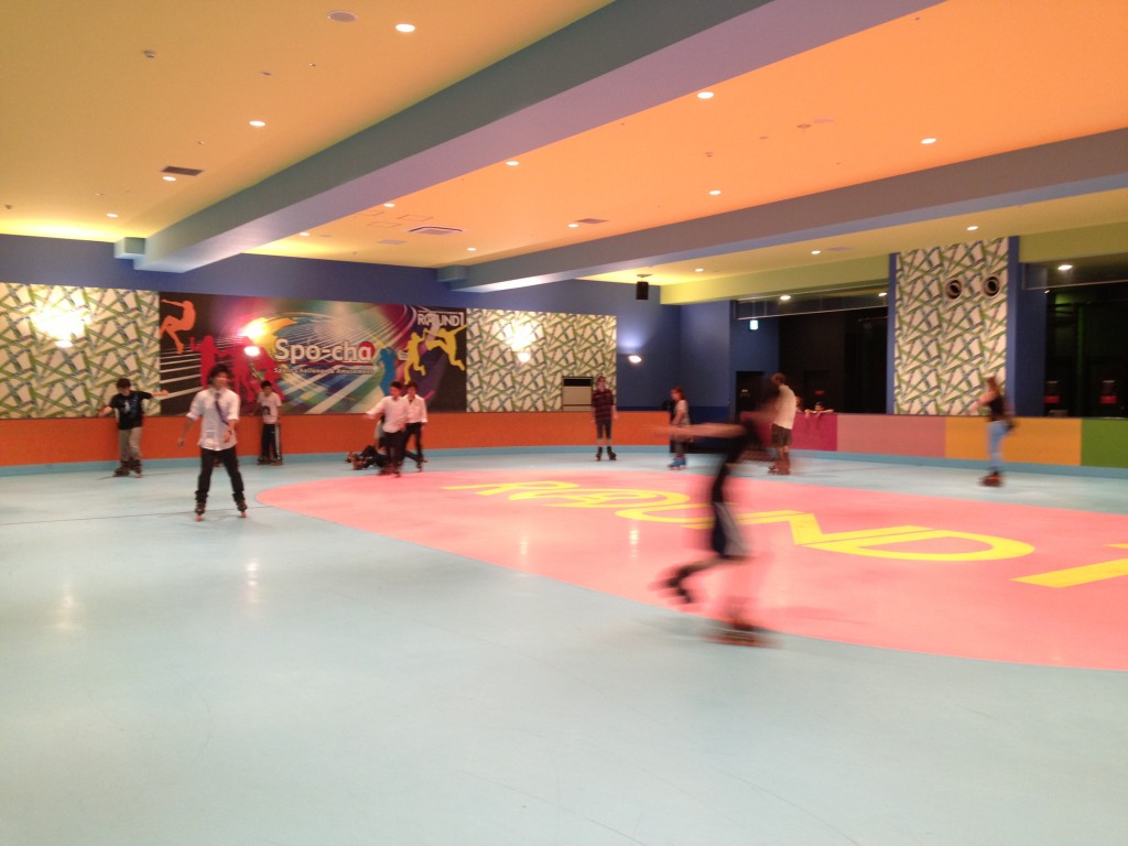 The rollerskating rink at Spocha. I see at least one person on the ground.