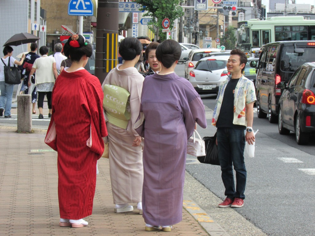 Geiko waiting on a Kyoto street corner?