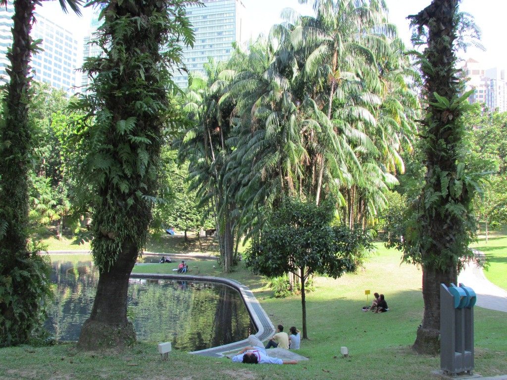 A green escape next to the Petronas towers.