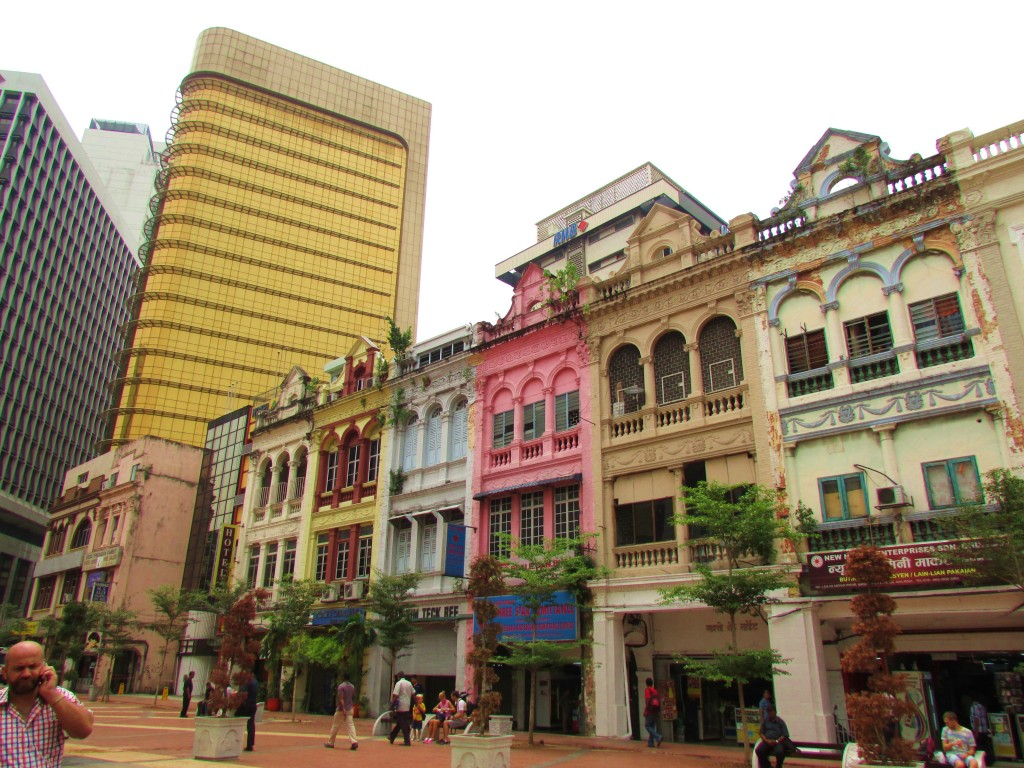A typical street view in Kuala Lumpur -- a mix of old and new.