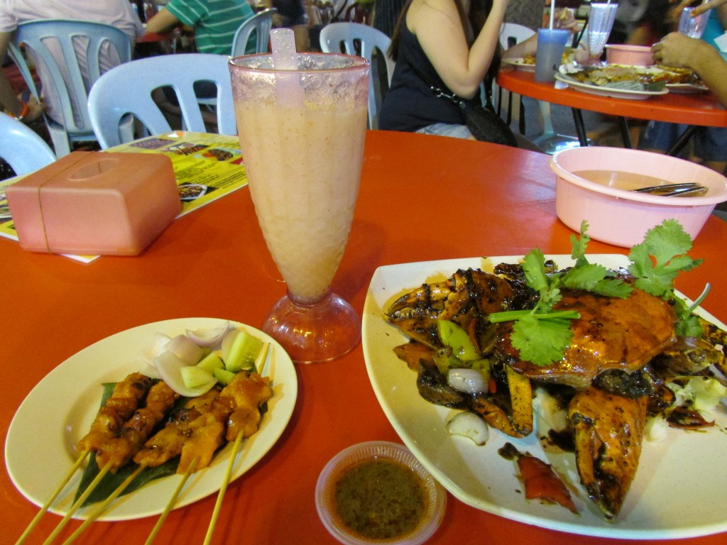 Crab and chicken satay on Jalan Alor.