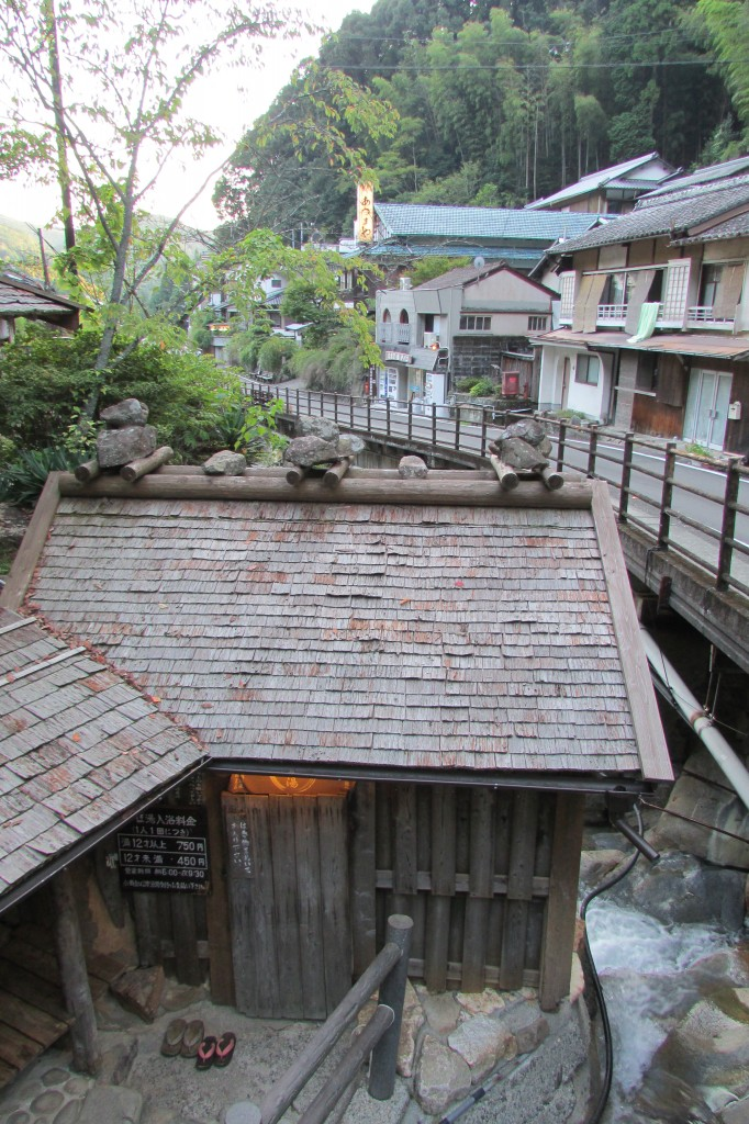 Tsuboyu onsen is in this little shack nestled over the river. It's just a tiny stone bath fit for two or three people.