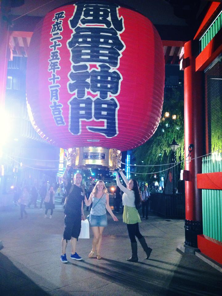 The massive lantern at the gate to Sensoji temple, in Asakusa.